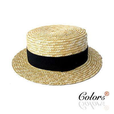 New Ladies Straw Pork Pie Hat Fedoar Trilby Hat with Black Band Dance Party Hat