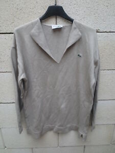 6f9cde81c5 Pull femme LACOSTE Devanlay made in France col V beige coton shirt ...