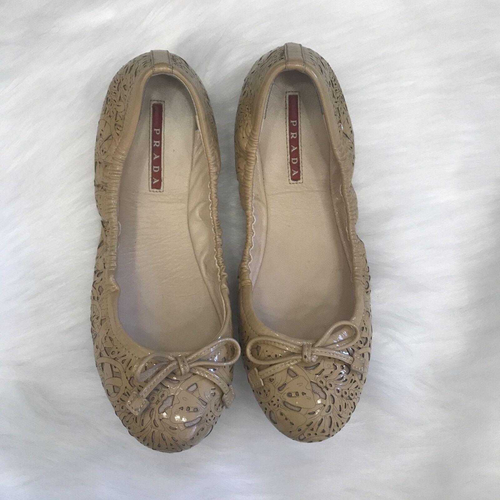 Prada BEIGE Ballet Zapatos sin Taco Sin Floral Charol Charol Charol Corte Láser arco tamaño nos 6 EU 36  promociones emocionantes