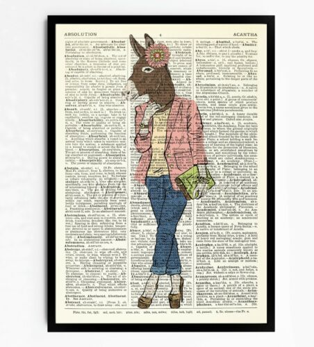 Donkey DICTIONARY ART PRINT VINTAGE  BOOK PAGE FRAMED CURIOUS HOME DECOR #93