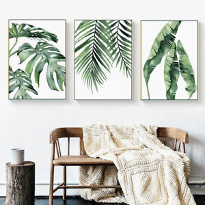 Watercolor-Leaf-Wall-Art-Canvas-Poster-Prints-Green-Plants-Painting-Nordic-Decor