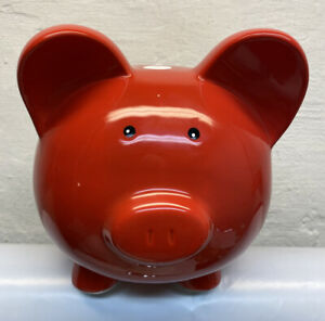 Large-Red-W-White-Polka-Dots-Ceramic-Pig-Piggy-Bank-9-5-x-8
