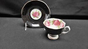 Royal-Albert-England-Bone-China-Black-Pink-Rose-Footed-Cup-amp-Saucer