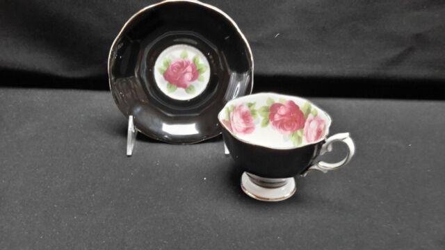 Royal Albert England Bone China Black Pink Rose - Footed Cup & Saucer