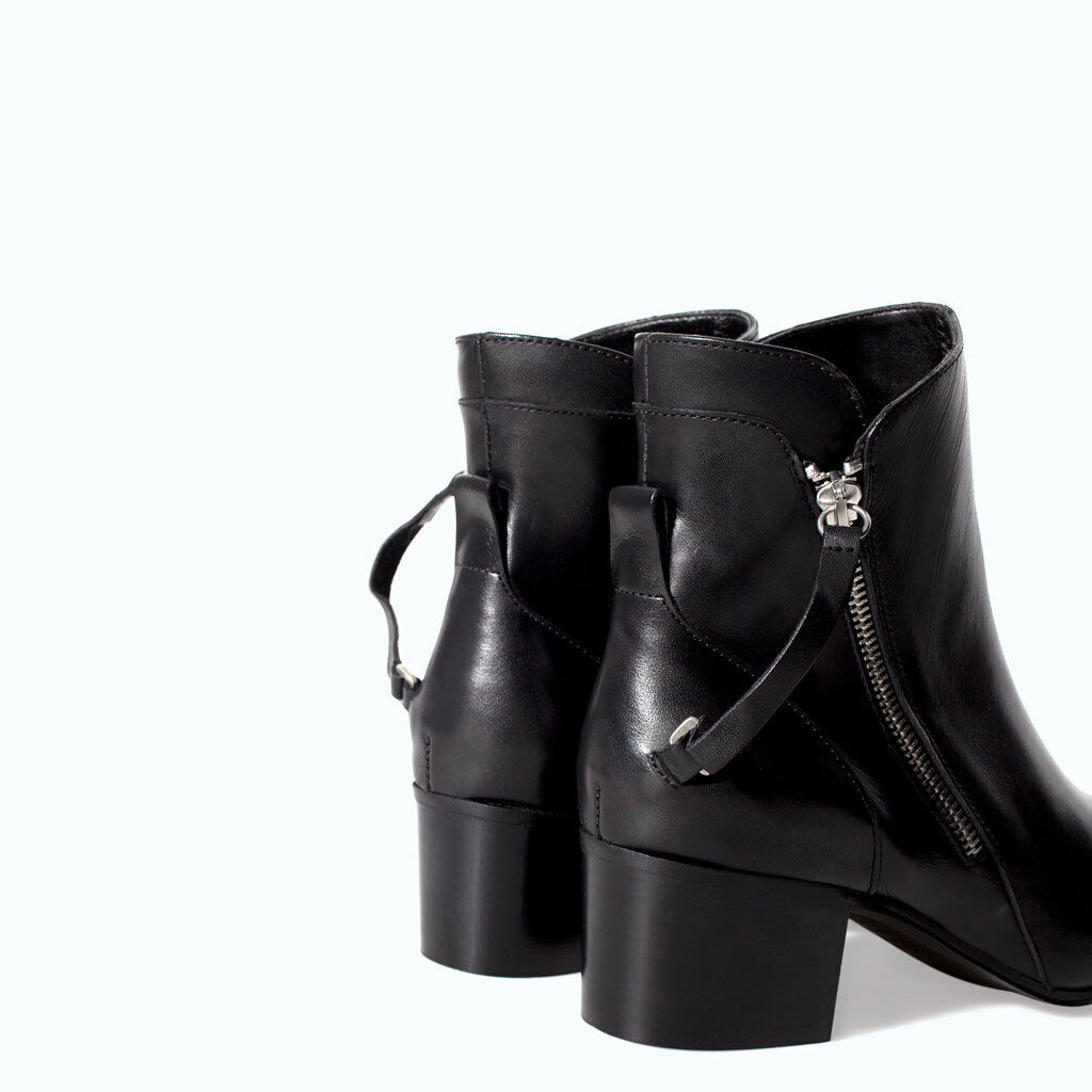 ZARA BLACK HIGH HEEL LEATHER ANKLE BOOT WITH ZIPS UK EUR SIZES 6 & 7 EUR UK 39 & 40 TAG b4005b