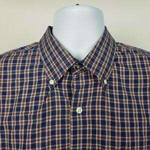 Peter-Millar-100-Cotton-Mens-Blue-Brown-Check-Dress-Button-Shirt-Sz-XL