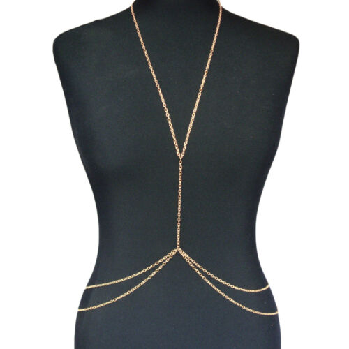 New Women Body Full Metal Body Chain Gold JEWELRY Necklace Bikini Belly Harness