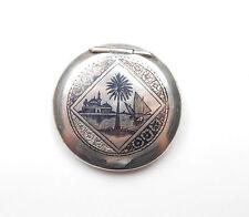 Vintage Circa 1950 Solid SIlver MARSH ARAB NIELLO COMPACT CASE 52.4g