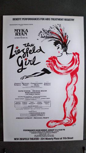 THE ZIEGFELD GIRL Window Card OFF BROADWAY AIDS Treatment Registry NYC 1989