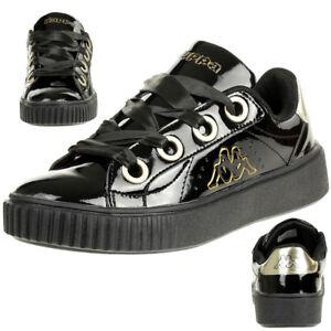 Details zu Kappa MESETA SHINE PF BE Damen Sneaker Glanz Lack Schuhe schwarz gold