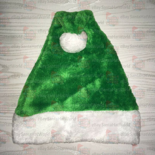 Light Green Plush Santa Hat Ships from USA NOT FELT One or Lot