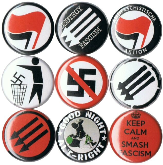 "Fight Nazis 1"" Button F001B Antifa AFA Anti Nazi Anti Fascist Anti Trump"