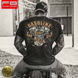 T-Shirt-Maglietta-Respect-For-Bikers-Harley-Davidson-Gasoline-V-Twin-Custom