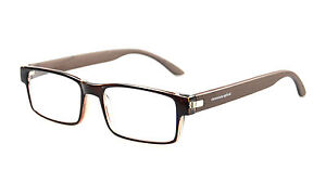 High Quality Classic Rectangle Reading Glasses Spring Hinge Temple Reader Brown