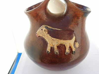 NATIVE AMERICAN NAVAJO HORSE AND COW POTTERY VASE
