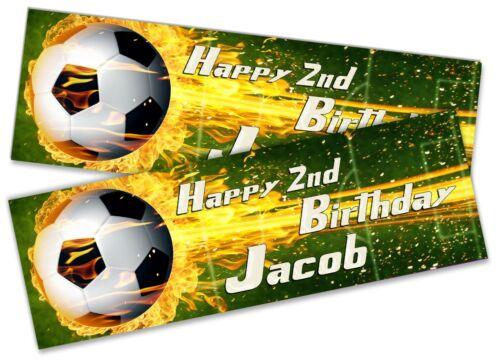 X2 Personnalisé Anniversaire Bannière Football Enfants Fête Décoration Cadeau 11