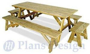 Classic Rectangle Picnic Table With Benches Woodworking Plans Design # ...