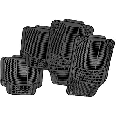 4PC BLACK HEAVY DUTY UNIVERSAL RUBBER GRIP CAR MAT SET VAN MATS PREMIUM NEW