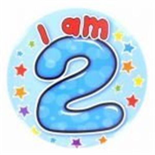 Age 2 Big Badges Boy Jumbo I Am Happy 2nd Birthday Badge Party Giant Today