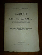 PARPAGLIOLO ELEMENTI DI DIRITTO AGRARIO Roma 1943 Fascismo