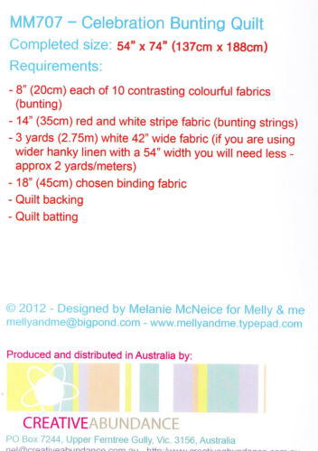 Creative Card Melly /& Me Celebration Bunting Quilt pieced quilt MINI PATTERN