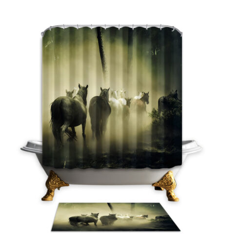 """72/"""" a Group Horses Polyester Waterproof Fabric Shower Curtain Bathroom Doormat"""