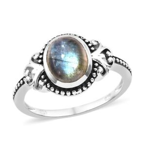 925-Sterling-Silver-Oval-Labradorite-Solitaire-Ring-Jewelry-for-Women-Cttw-3-3