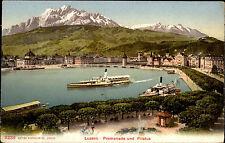 Schiffe ~1910 Schweiz Binnenschiffe Dampfer See bei Luzern mit Alpen Fernblick