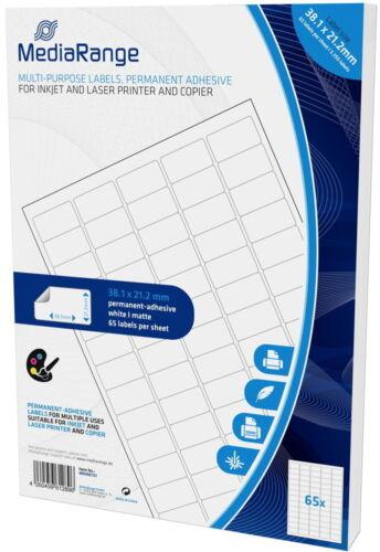 32500 Mediarange Etiketten Label selbstklebend 38,1 x 21,2 mm auf 500 A4 Bogen