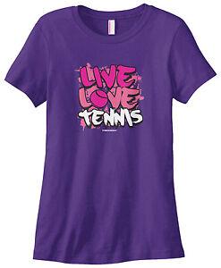 Threadrock Women S Live Love Tennis T Shirt Game Set Match Racket Ebay
