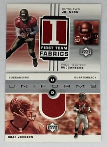 Brad & Keyshawn Johnson 2002 Upper Deck Uniform Game Worn Jersey Cards Lot x2 🏈