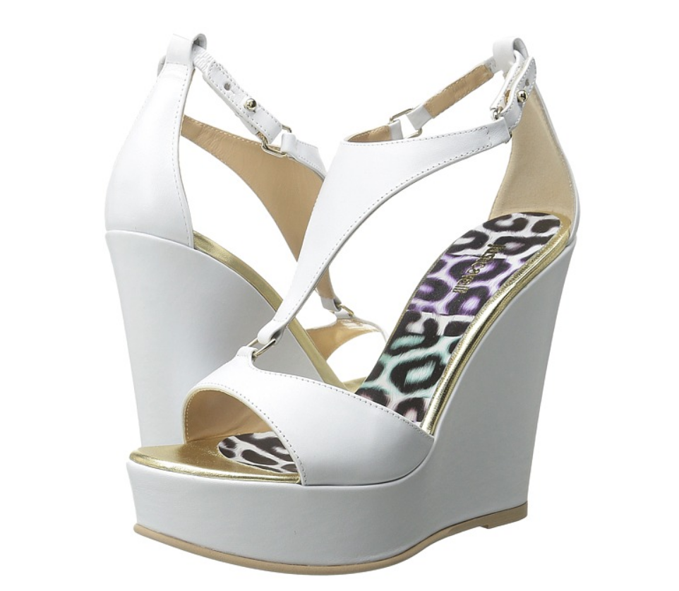 Just Just Just Cavalli Calf Leather Off blanc femmes Wedge Sandals Sz 41 EUR 3426 b1d3d5