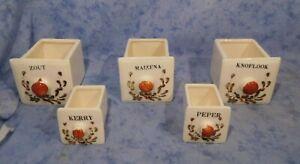 Konvolut 5 alte Keramik Schütten Vorratsgefäße Blume Landhaus Holland Vintage!