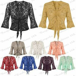 Ladies-Women-s-Plus-Size-Lace-Sequin-Sleeve-Bolero-Tie-Up-Top-Shrug-Cardigan
