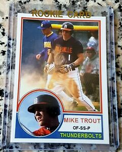 MIKE-TROUT-2008-Millville-Thunderbolts-Rookie-Card-RC-1983-Topps-Style-HOT-MVP