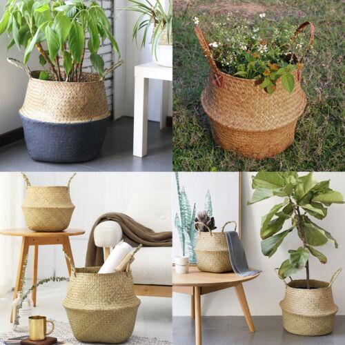 Basket Rattan Hanging Flowerpot Woven Planter Storage Basket Home Wall Decor