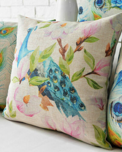 """18/"""" New Vivid Peacock Feather Flowers Floral Linen Pillow Case Cushion Cover"""