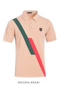 New-Mens-Short-Sleeve-Polo-Shirt-Slim-Fit-Stretch-Khaki-Red-Green-Stripes