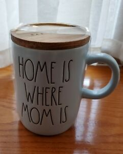 """Rae Dunn Rae Dunn """" Home Is Where Mom Is"""" Baby Blue Ceramic Mug with Wooden Lid"""