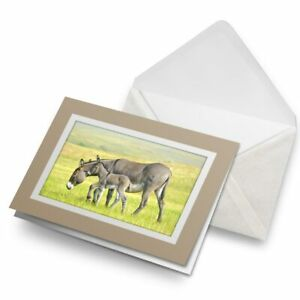 Greetings-Card-Biege-Mother-Baby-Donkey-Foal-15596