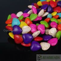 Mix Color Howlite Turquoise Gemstone 18mm Loving Heart Loose Spacer Beads 16''