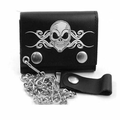 Mens Biker Leather Death Skull Chain Wallet Tri-Fold Motorcycle USA Made