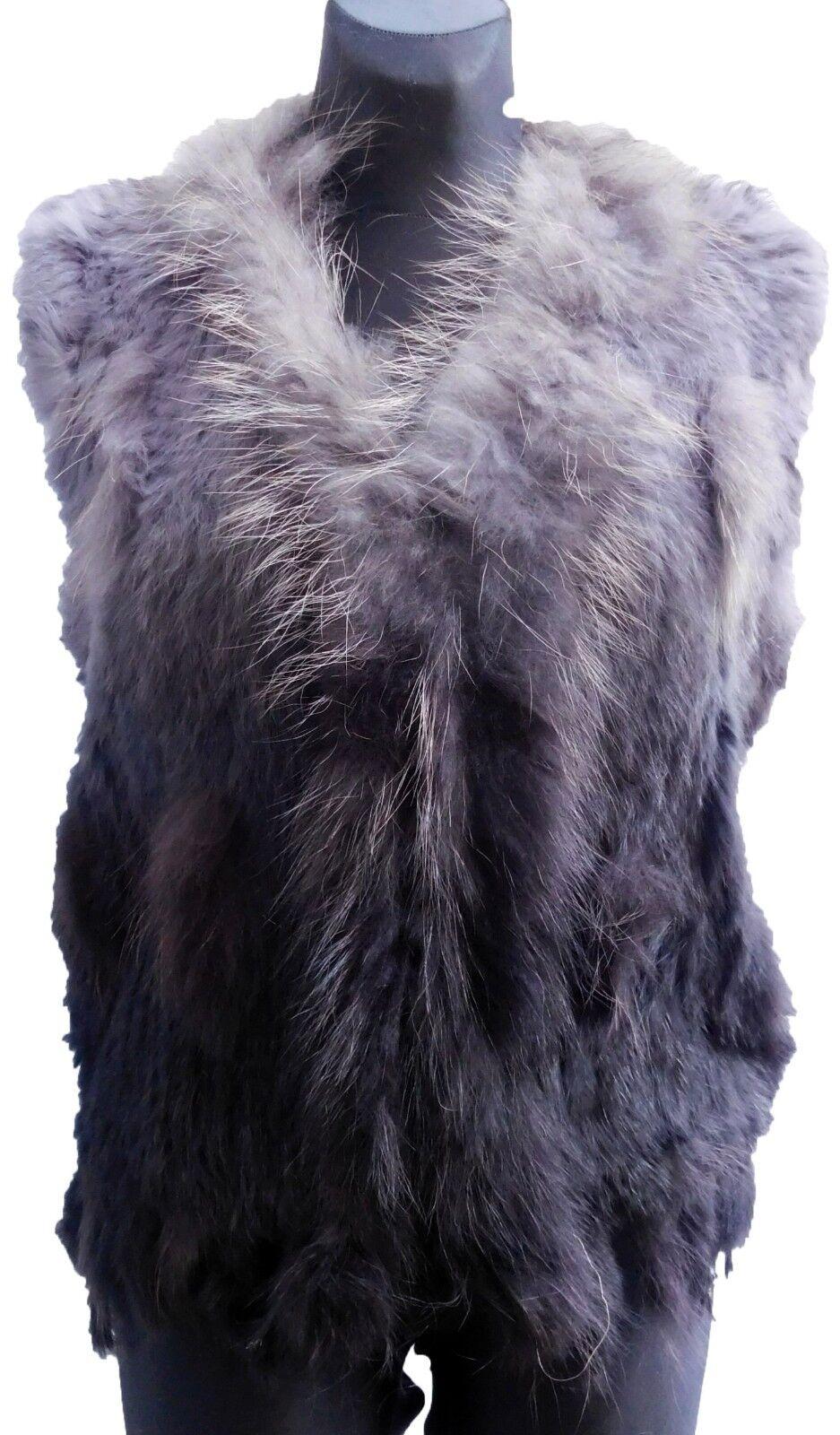 Weste Fellweste Echtfell toupe- zweifarbig Waschbär Kaninchen  Neu EG 38-42