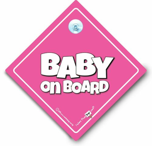 Baby On Board Sign Powder Pink Suction Cup Car Sign Baby Girl On Board