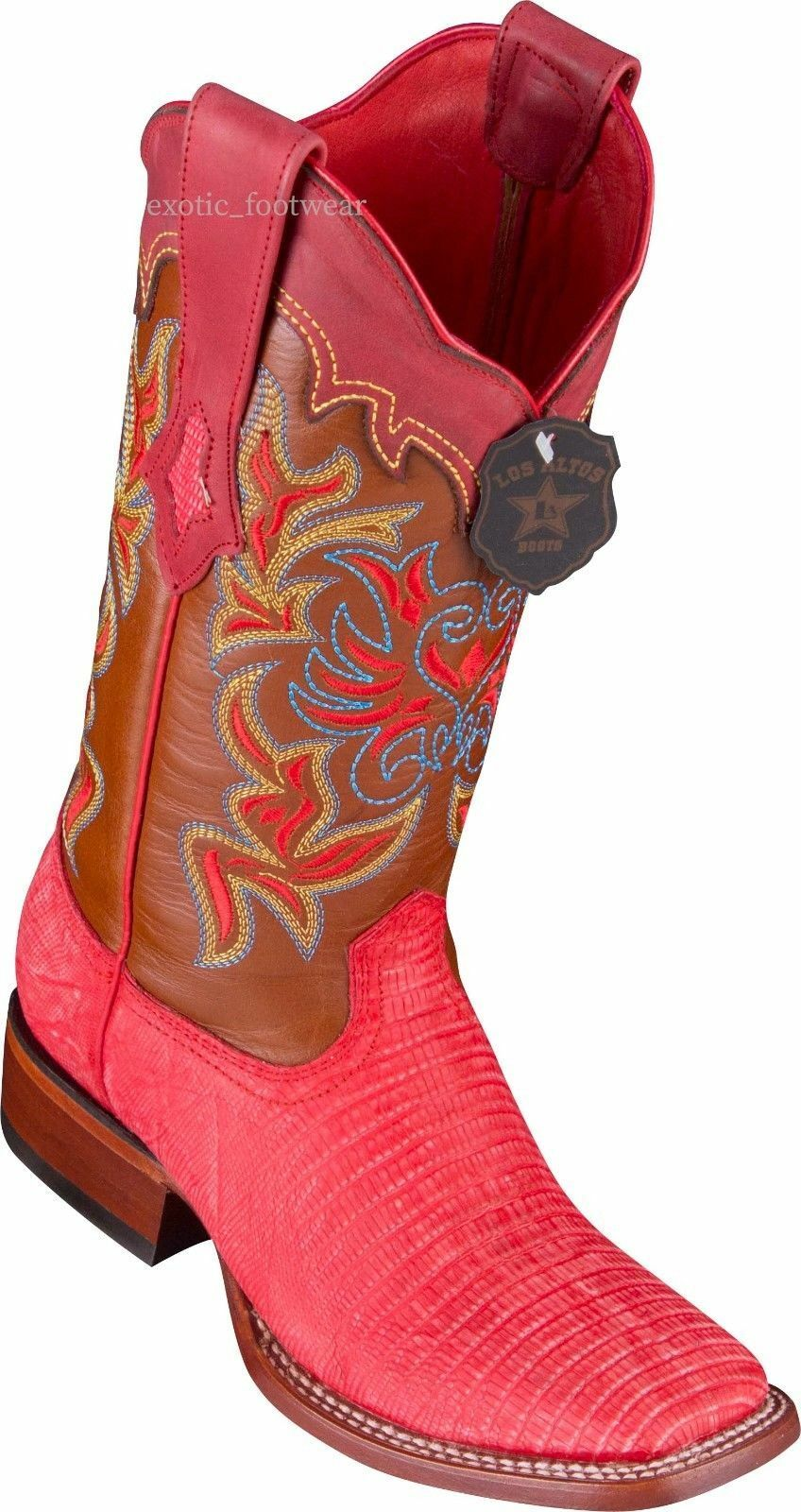 Donna LOS RED ALTOS SANDED RED LOS LIZARD RANCH-SQUARE-TOE WESTERN BOOT 8d3d56