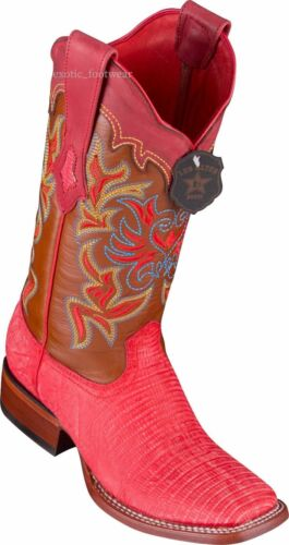 WOMEN LOS ALTOS SANDED RED LIZARD RANCH-SQUARE-TOE WESTERN BOOT
