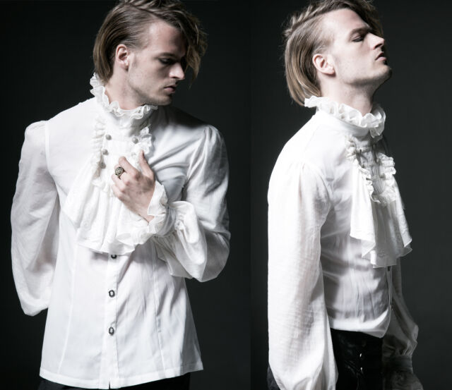 Gothic Punk Rave Viktorianische weiß Hemd Herren gents Mittelalter Rüschen Jabot