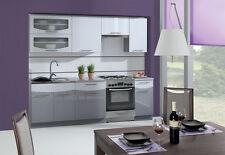 Küche Schränke Küchenzeilen 240/180 cm Smile grau/weiss hochglanz Expressversand