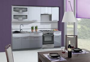 Küche Schränke Küchenzeilen 240/180 cm Smile grau/weiss hochglanz ...