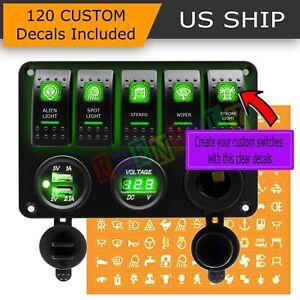 Green Led 5 Gang On Off Toggle Switch Panel 2 Usb 12v Car Boat